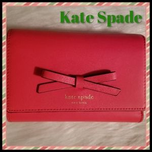 Kate Spade*Coral Leather Tri-fold Wallet